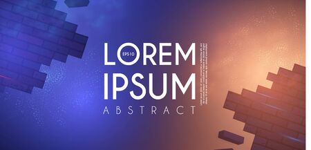 Crushing surface. Abstract geometric and futuristic space background. Broken brick wall with lights. 3D game design template. Illusztráció