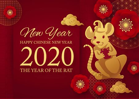 Chinese new 2020 year celebration template with papercut rat character, flowers and asian elements. Red and gold design. Иллюстрация