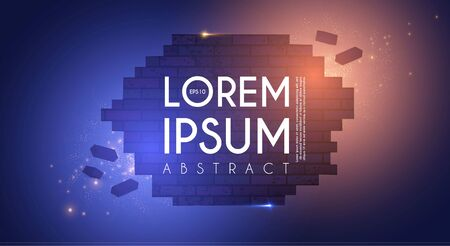 Crushing surface. Abstract geometric and futuristic space background. Broken brick wall with lights. 3D game design template. Stock fotó - 130125606