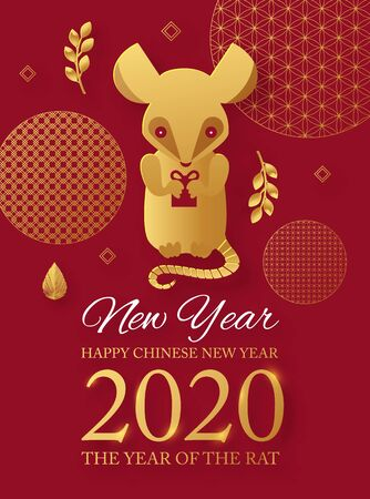 Chinese new 2020 year celebration template with papercut rat character and asian elements. Red and gold design.