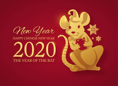 Happy new 2020 year Papercut rat character. Red and gold design. Illustration