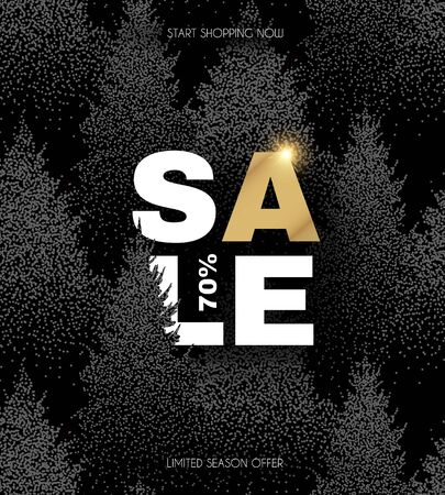 Christmas sale. Elegant design template with sale label and winter forest background. Çizim