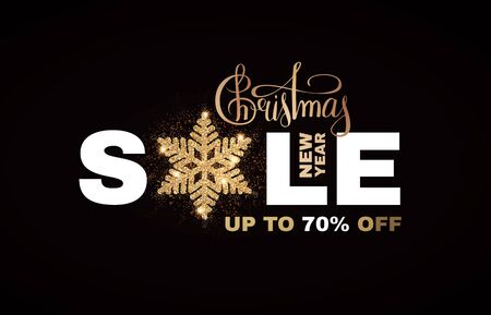 Christmas Sale banner. Elegant design template with gold shining snowflake. Banco de Imagens - 130125655