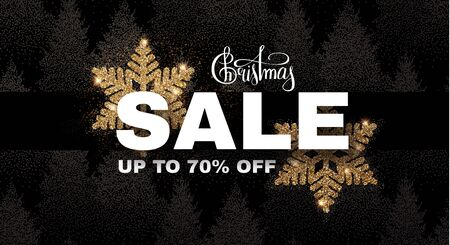 Christmas Sale banner. Elegant design template with gold shining snowflake and winter forest background.