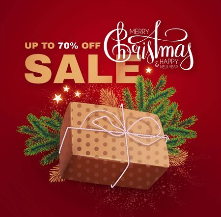 Christmas Sale banner with realistic gift box, fir tree branches, holiday decoration, lettering and lights.