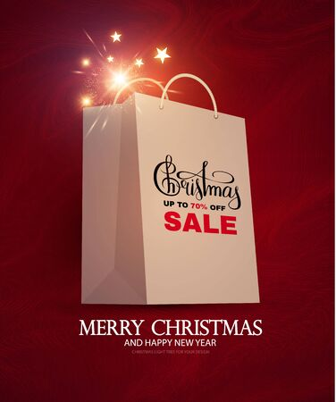 Christmas Sale design template with realistic shopping eco bag, lettering and lights. Stock fotó - 130125679