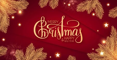 Merry Christmas Shining holiday background with lettering, gold fir tree branches, stars and lights. 版權商用圖片 - 129857961