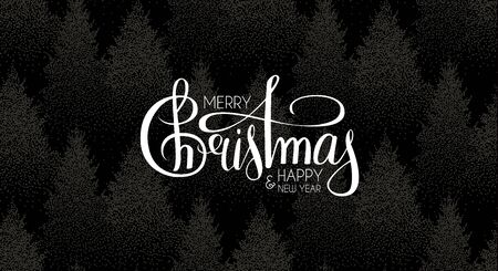 Merry Christmas and Happy New Year lettering on winter forest background.