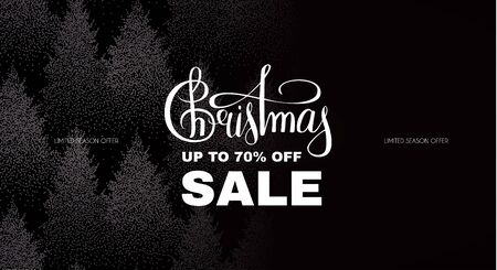 Christmas sale. Elegant design template with lettering and winter forest background. Stock fotó - 130125687