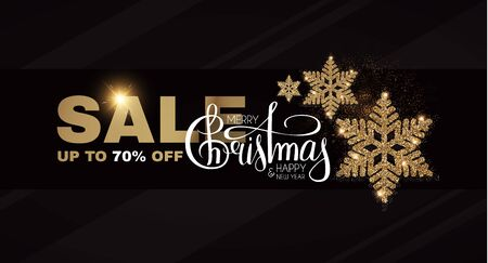 Christmas Sale banner. Elegant design template with gold shining snowflake.