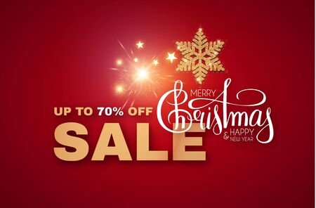 Christmas Sale design with gold shining snowflake, lettering and lights. Stock fotó - 130126131