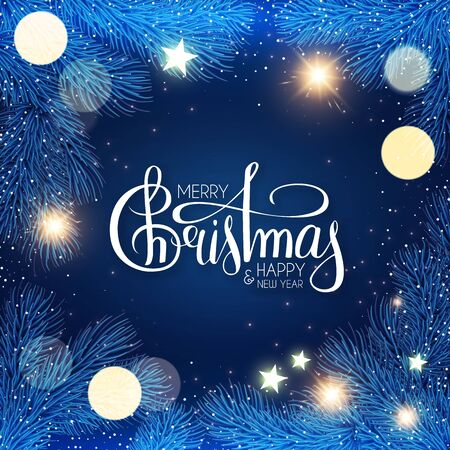 Merry Christmas Shining holiday background with lettering, fir tree branches, stars and lights.