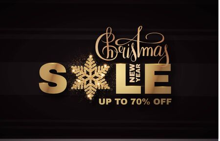 Christmas Sale banner. Elegant design template with gold shining snowflake. Banco de Imagens - 130126141