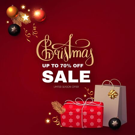 Christmas Sale banner with realistic gift box, shopping bag, glossy balls, holiday decoration, lettering and lights. Illustration
