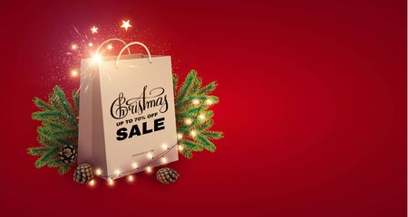 Christmas Sale design template with realistic shopping eco bag, fir tree branches, lettering and lights. Stock Vector - 131068423