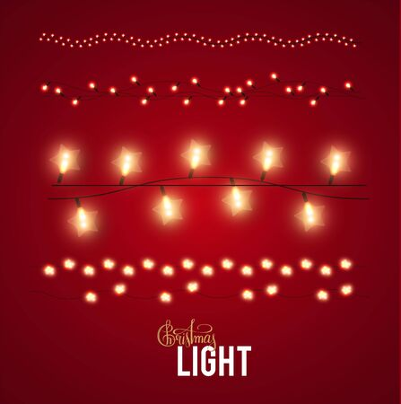 Christmas lights set. Shining light garlands collection.