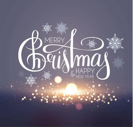 Buon Natale sfondo morbido con fuochi d'artificio, scritte, bokeh e fiocchi di neve.