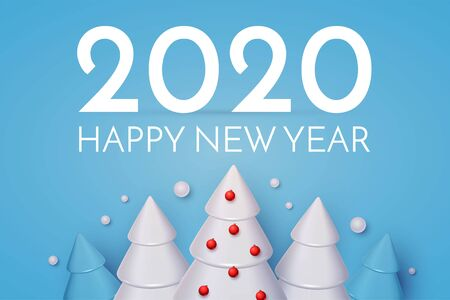 Happy New 2020 Year Holiday greeting with 3D fir trees and snow. Christmas cute design. Ilustração