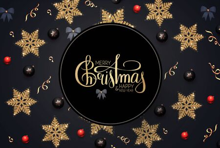 Merry Christmas and Happy New Year! Elegant holiday decoration with gold snowflakes, red and black balls, bows and lettering. Ilustração