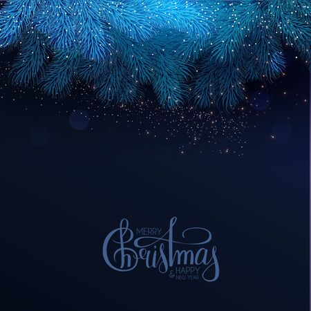 Merry Christmas and Happy New Year Holiday background with lettering, fir tree branches and lights.