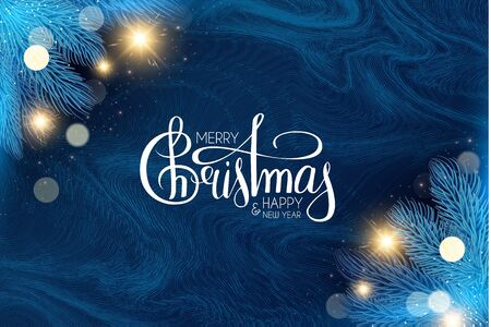 Merry Christmas and Happy New Year Holiday background with lettering, fir tree branches, bokeh effect, frost texture and lights. Ilustração
