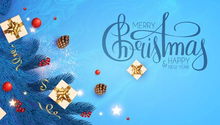 Merry Christmas and Happy New Year Holiday background with lettering, fir tree branches, snowflakes, gifts, cones red berries and balls.