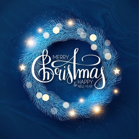 Christmas wreath. Frosty holiday decoration with fir tree branches, stars, lettering and bokeh effect. Ilustração