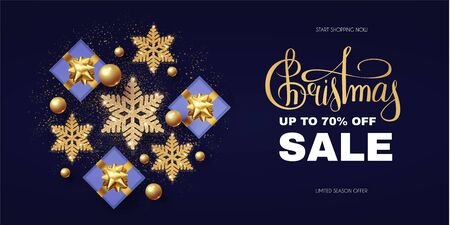 Christmas Sale design template with gifts, glossy golden balls, elegant gold snowflakes and lettering.