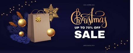 Christmas Sale design template with gift bag, fir tree branches, glossy golden balls, elegant gold snowflakes and lettering. Ilustração