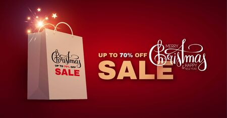 Christmas Sale design template with realistic shopping eco bag, lettering and lights.