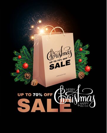 Christmas Sale design template with realistic shopping eco bag, fir tree branches, lettering and lights.