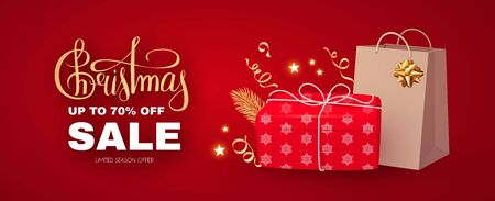 Christmas Sale banner with realistic gift box, shopping bag, serpentine, lettering and lights. Ilustração
