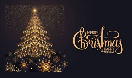 Merry Christmas Elegant holiday design with fir tree, lettering and gold shining snowflakes.
