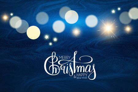 Merry Christmas Shining holiday background with lettering, flash light, wave texture, snow and bokeh effect.