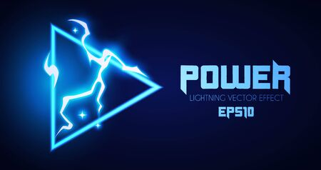 Abstract lightning shining banner. Power design. Electric light. Neon Storm.