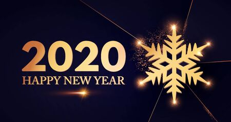 Happy new 2020 Year Elegant text template with shining gold snowflake.