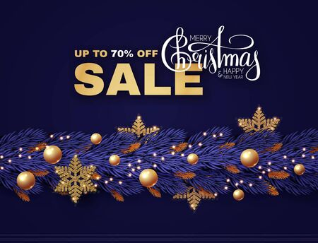 Christmas Sale design template with fir tree branch garland, glossy golden balls, elegant gold snowflakes and lettering.