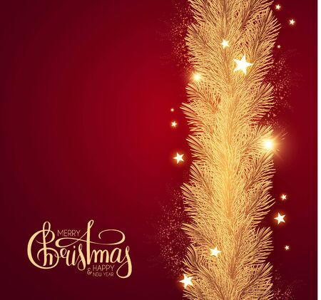 Merry Christmas Shining holiday background with lettering, gold fir tree branches, stars and lights.