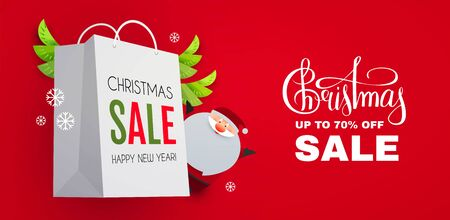 Christmas Sale design template with cute papercraft Santa Claus, shopping bag and holiday decoration.