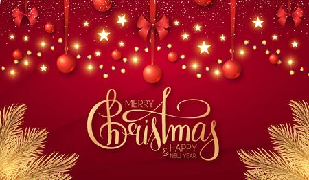 Merry Christmas Shining holiday background with lettering, gold fir tree branches, red balls, stars and light garland.