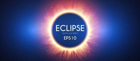 Sun eclipse. Fire light effect. Shining circle banner. Çizim