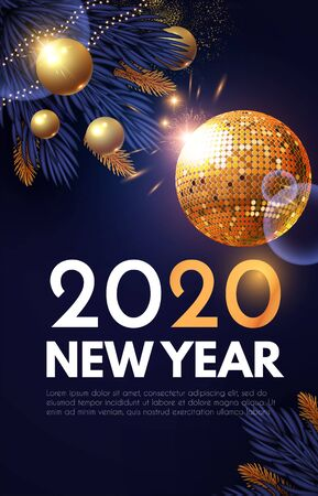 Happy New 2020 Year! Shining holiday design with gold disko ball, fir tree branches, glossy toys and light. Party invitation. Ilustração