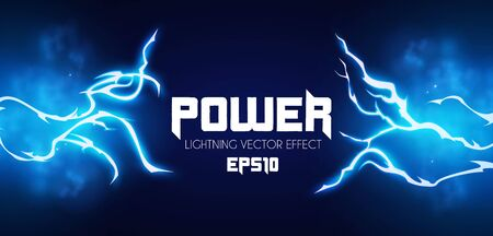 Lightning. Thunderstorm light effect. Neon electric light. Power design.