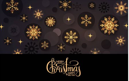 Merry Christmas Elegant holiday design with lettering and gold shining snowflakes. Ilustração