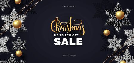 Christmas Sale design template with glossy golden balls, elegant silver snowflakes and lettering.