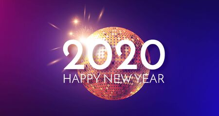 Happy New 2020 Year Shining holiday design with gold disko ball. Party invitation.