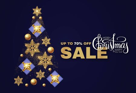 Christmas tree. Christmas Sale design template with gifts, glossy golden balls, elegant gold snowflakes and lettering.