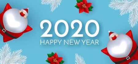 Happy New 2020 Year Cute Christmas design with 3D Santa Claus, poinsettia and fir trees.