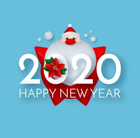 Happy New 2020 Year Cute Christmas design with 3D Santa Claus and poinsettia.