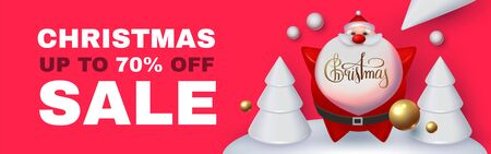 Christmas Sale Holiday special offe with 3D elements: Santa Claus, fir trees, gifts, snowflakes and balls.